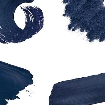 Colección de pinceladas azul marino.
