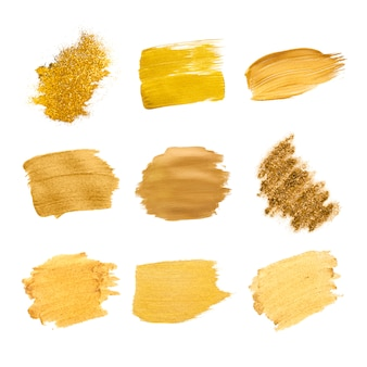 Colección de pinceladas de oro.