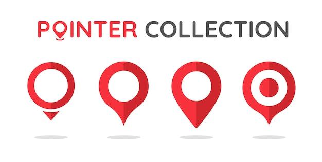 Colección de pines rojos para indicaciones en el mapa.