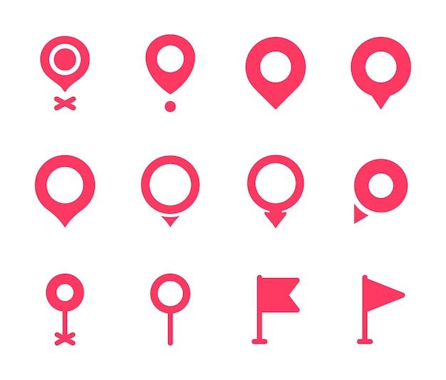 Colección de pines de ubicación icono de puntero rojo.