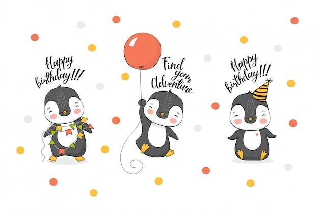 Colección de pingüinos divertidos dibujos animados