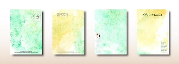Colección pintada a mano de acuarela amarilla y verde