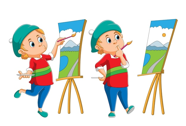 La colección del pintor está dibujando la escenografía en el lienzo de la ilustración.