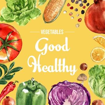 Colección de pintura de acuarela vegetal. ilustración de anuncio saludable de decoración orgánica de alimentos frescos