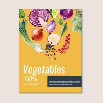 Colección de pintura de acuarela vegetal. ilustración saludable de alimentos orgánicos póster flyer saludable