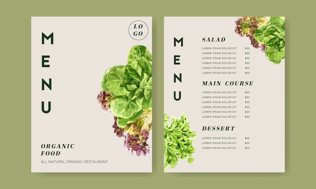 Colección de pintura de acuarela vegetal. ilustración saludable de menú orgánico de alimentos frescos