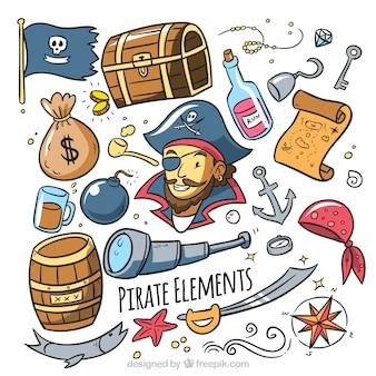 Colección de pirata con accesorios dibujados a mano
