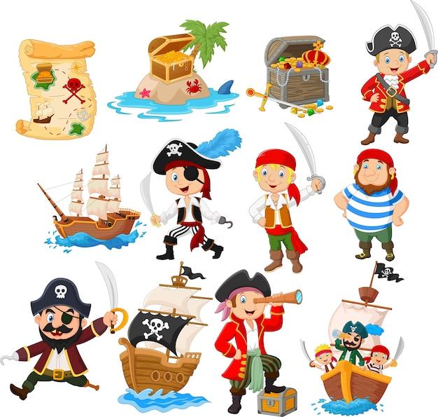 Colección de piratas de dibujos animados