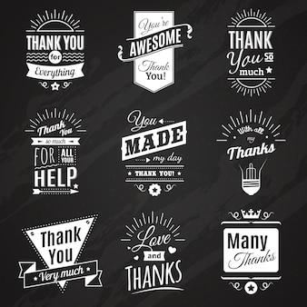 Colección de pizarrón de nueve carteles de agradecimiento vintage en diferentes estilos de fuente.
