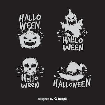 Colección de placa de halloween de diseño plano