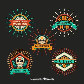 Colección de placas de diseño plano día de muertos