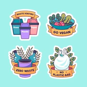 Colección de placas ecológicas de plástico y plantas.