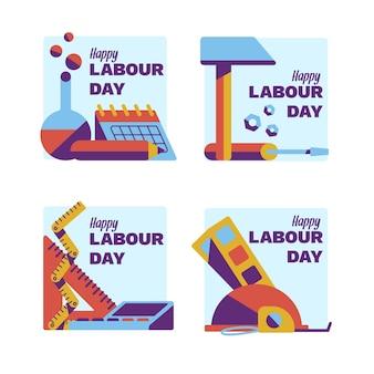 Colección de placas planas del día del trabajo