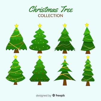 Colección plana de árboles de navidad