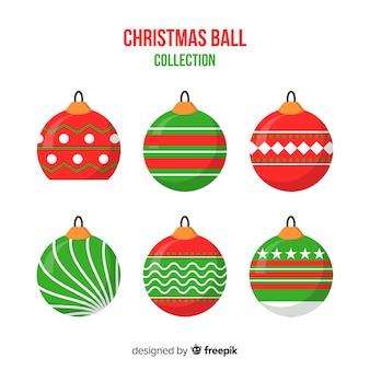 Colección plana de bolas de navidad