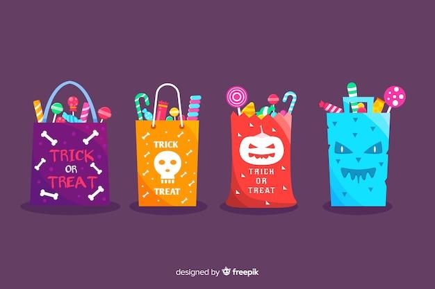 Colección plana de bolsos de halloween de truco o trato