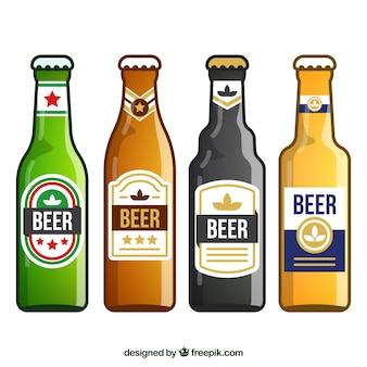 Colección plana de botellas de cerveza con etiqueta