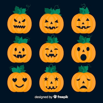Colección plana de calabaza de halloween sobre fondo negro