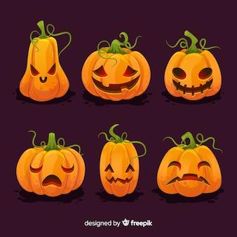 Colección plana de calabaza de halloween