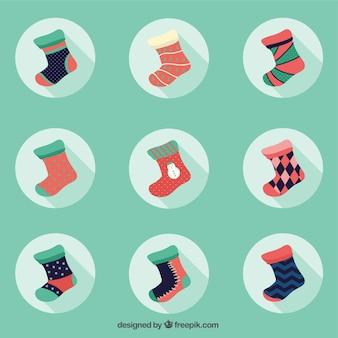 Colección plana de calcetines de invierno