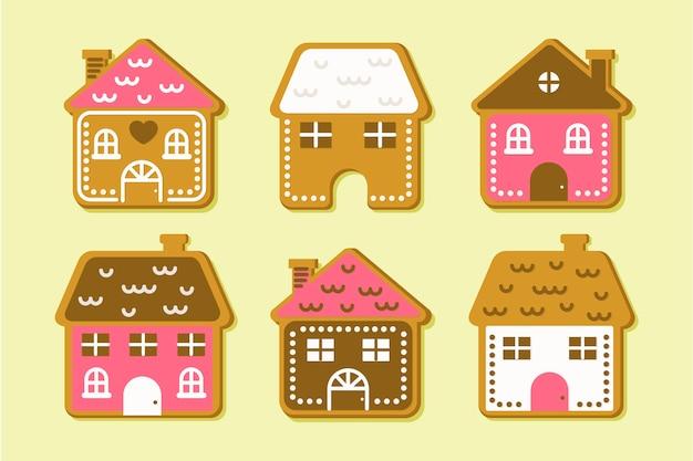 Colección plana de la casa de pan de jengibre