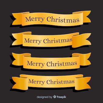 Colección plana de cinta dorada de navidad