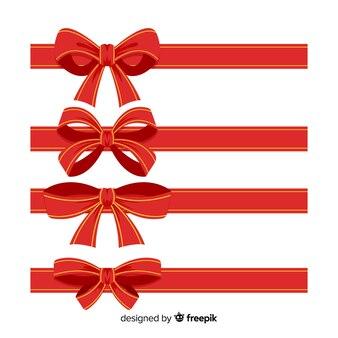 Colección plana de cintas navideñas