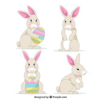 Colección plana de conejos de pascua