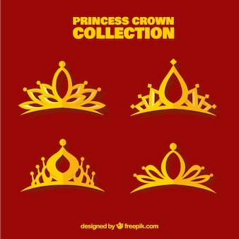 Colección plana de coronas de princesa