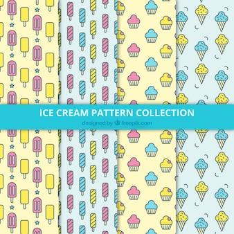 Colección plana de cuatro patrones con helados deliciosos