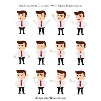 Colección plana de personaje de hombre de negocios con expresiones faciales fantásticas