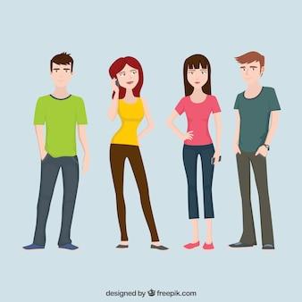 Colección plana de personajes adolescentes