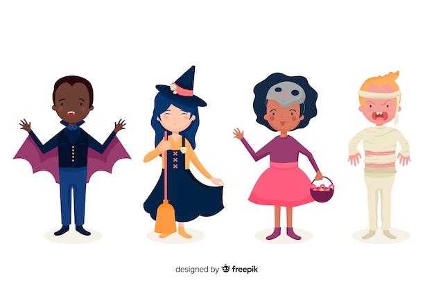 Colección plana de disfraces de halloween para niños