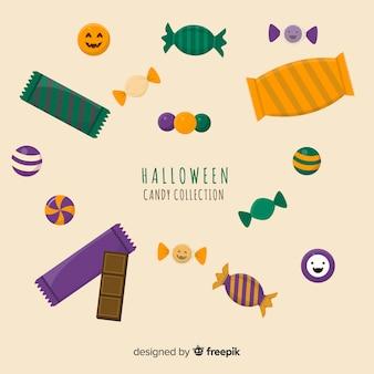 Colección plana de dulces de halloween