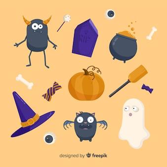 Colección plana de elementos espeluznantes de halloween