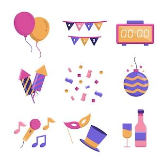 Colección plana de elementos de fiesta de año nuevo