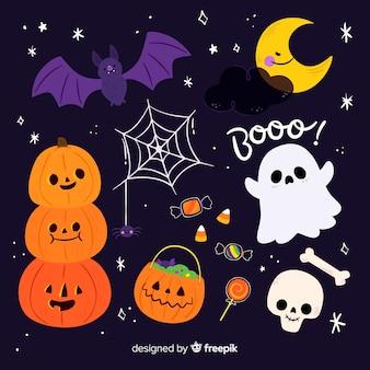 Colección plana de elementos de halloween en una noche estrellada