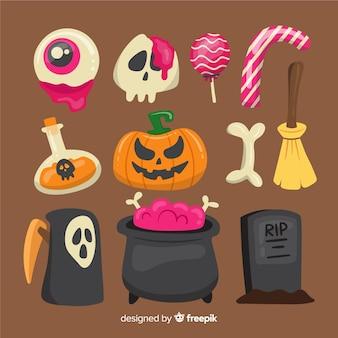 Colección plana de elementos de halloween
