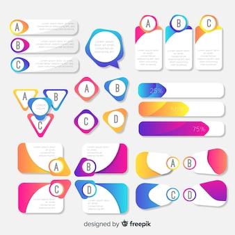 Colección plana elementos infografía degradados