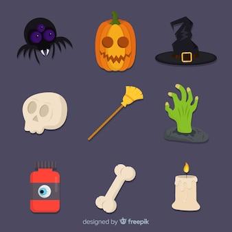 Colección plana de elementos lindos de halloween