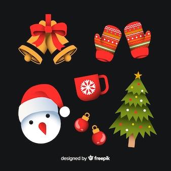 Colección plana de elementos navideños sobre fondo negro