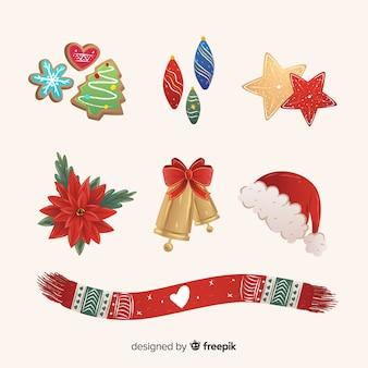Colección plana de elementos navideños