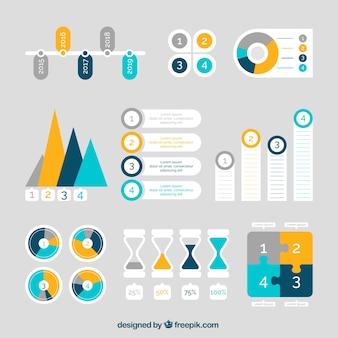 Colección plana de elementos útiles listos para infografías