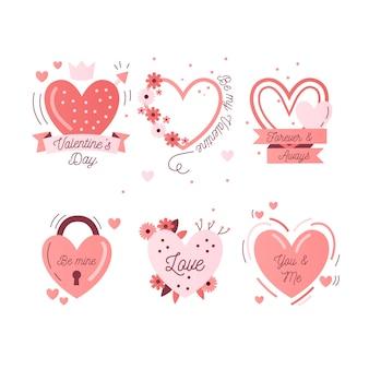 Colección plana de etiquetas / distintivos de san valentín