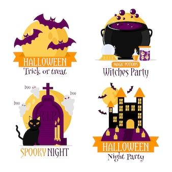 Colección plana de etiquetas de halloween