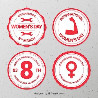 Colección plana de etiquetas/insignias del día de la mujer