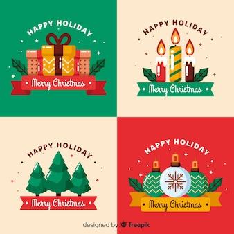 Colección plana de etiquetas navideñas