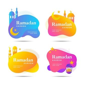 Colección plana de etiquetas de ramadán
