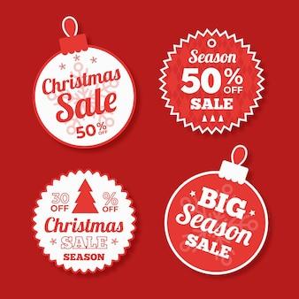 Colección plana de etiquetas de venta de navidad