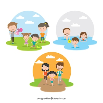 Colección plana de familia haciendo distintas actividades